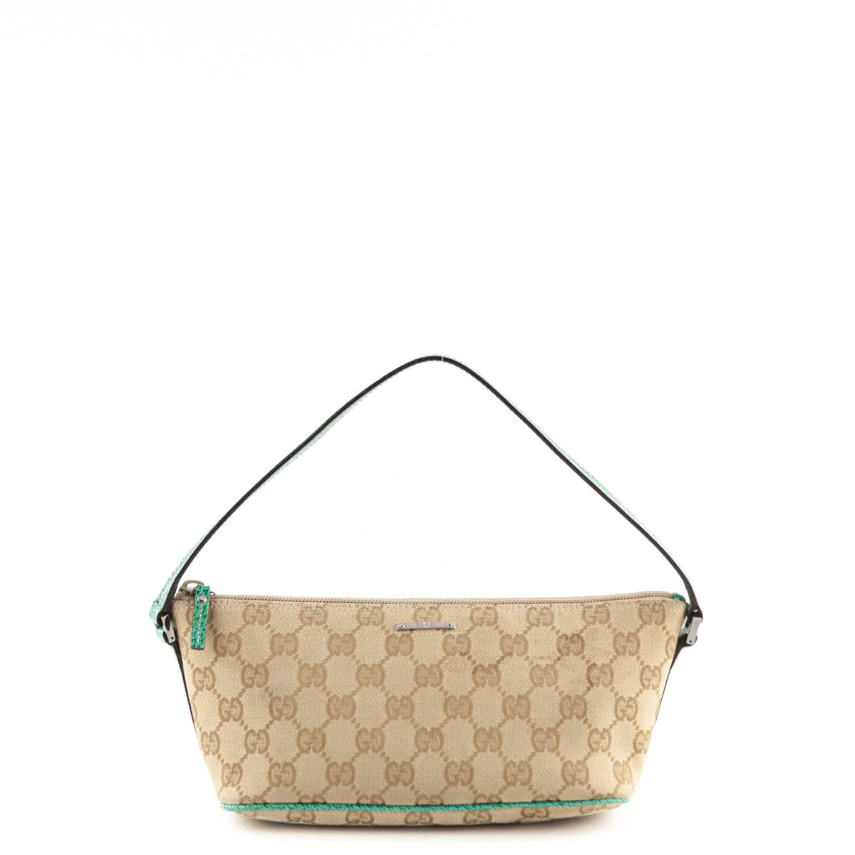b886de4fafc326 Gucci Beige & Green Monogram Canvas GG Pochette - LOVE that BAG - Preowned  Authentic Designer ...