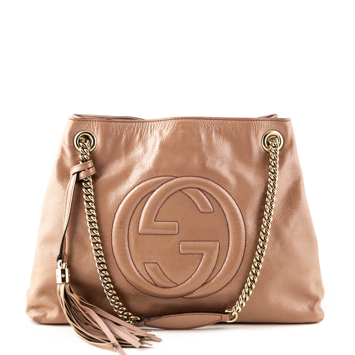 b48eb20eb2b Gucci Beige Patent Soho Shoulder Bag - LOVE that BAG - Preowned Authentic  Designer Handbags ...
