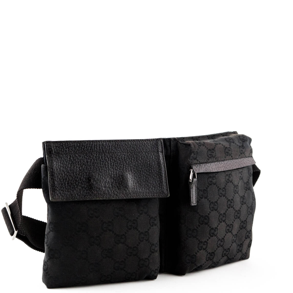 083f97345af64f ... Gucci Black Canvas Original GG Belt Bag - LOVE that BAG - Preowned  Authentic Designer Handbags ...