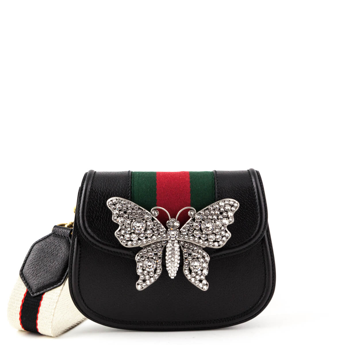 e10b21ef0c8eca Gucci Black Crystal Butterfly Small Linea Totem Shoulder Bag - LOVE that BAG  - Preowned Authentic ...