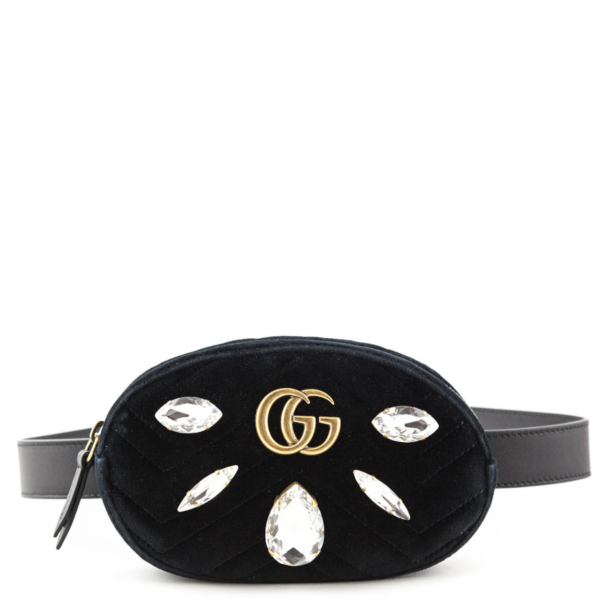 14a2f40f5fe Gucci Black Crystal   Velvet Marmont 2.0 Belt Bag - LOVE that BAG -  Preowned Authentic ...
