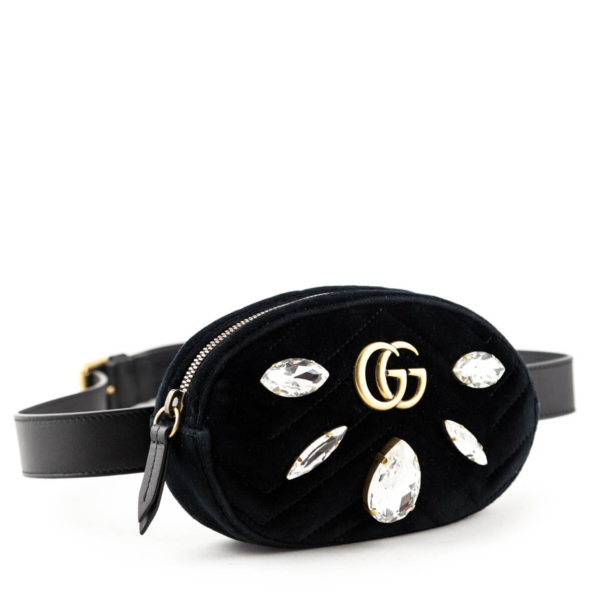 747596a19385 ... Gucci Black Crystal   Velvet Marmont 2.0 Belt Bag - LOVE that BAG - Preowned  Authentic ...