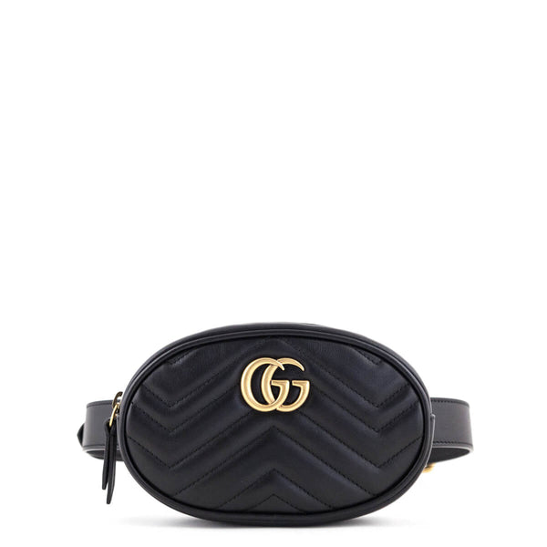 243f4fbc1f00 Gucci Black GG Chevron Matelassé Marmont Belt Bag 75