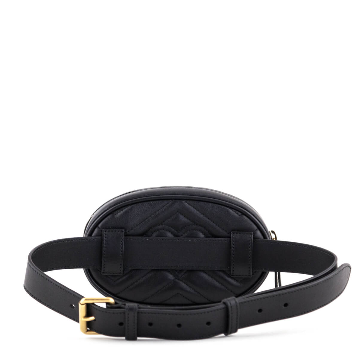 66b52ac4a9d ... Gucci Black GG Chevron Matelassé Marmont Belt Bag 75 - LOVE that BAG -  Preowned Authentic ...