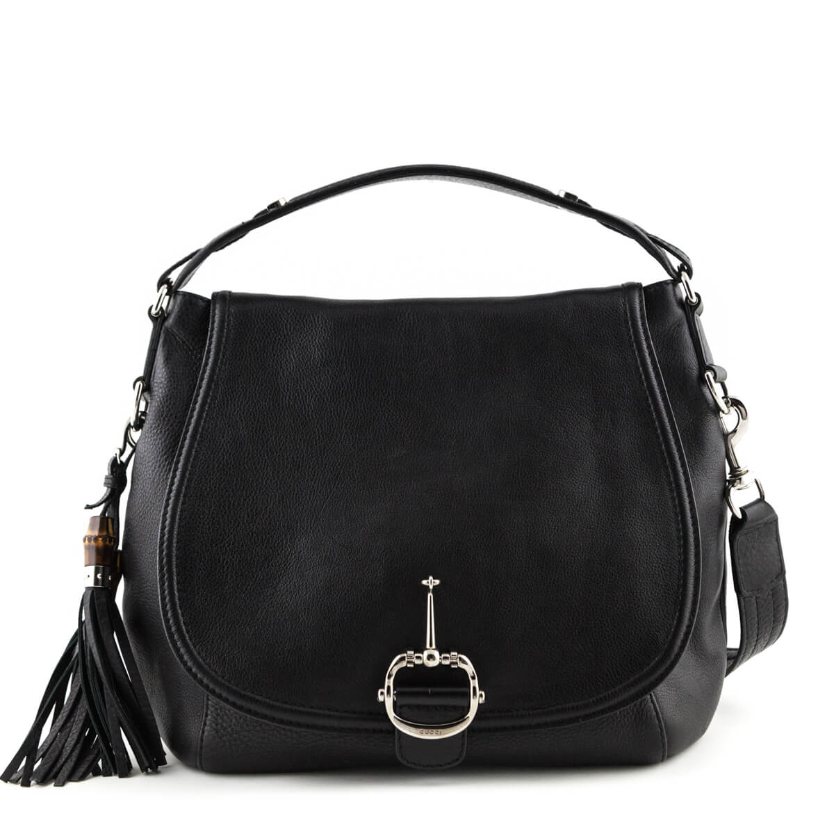 dc3f40911 Gucci Black Grained Leather Large Techno Horsebit Bag - LOVE that BAG -  Preowned Authentic Designer ...