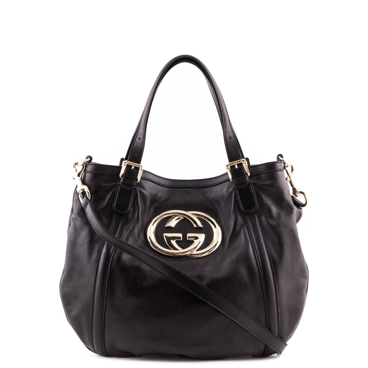 f216edadb80c60 Gucci Black Leather Interlocking GG Tote - LOVE that BAG - Preowned  Authentic Designer Handbags ...