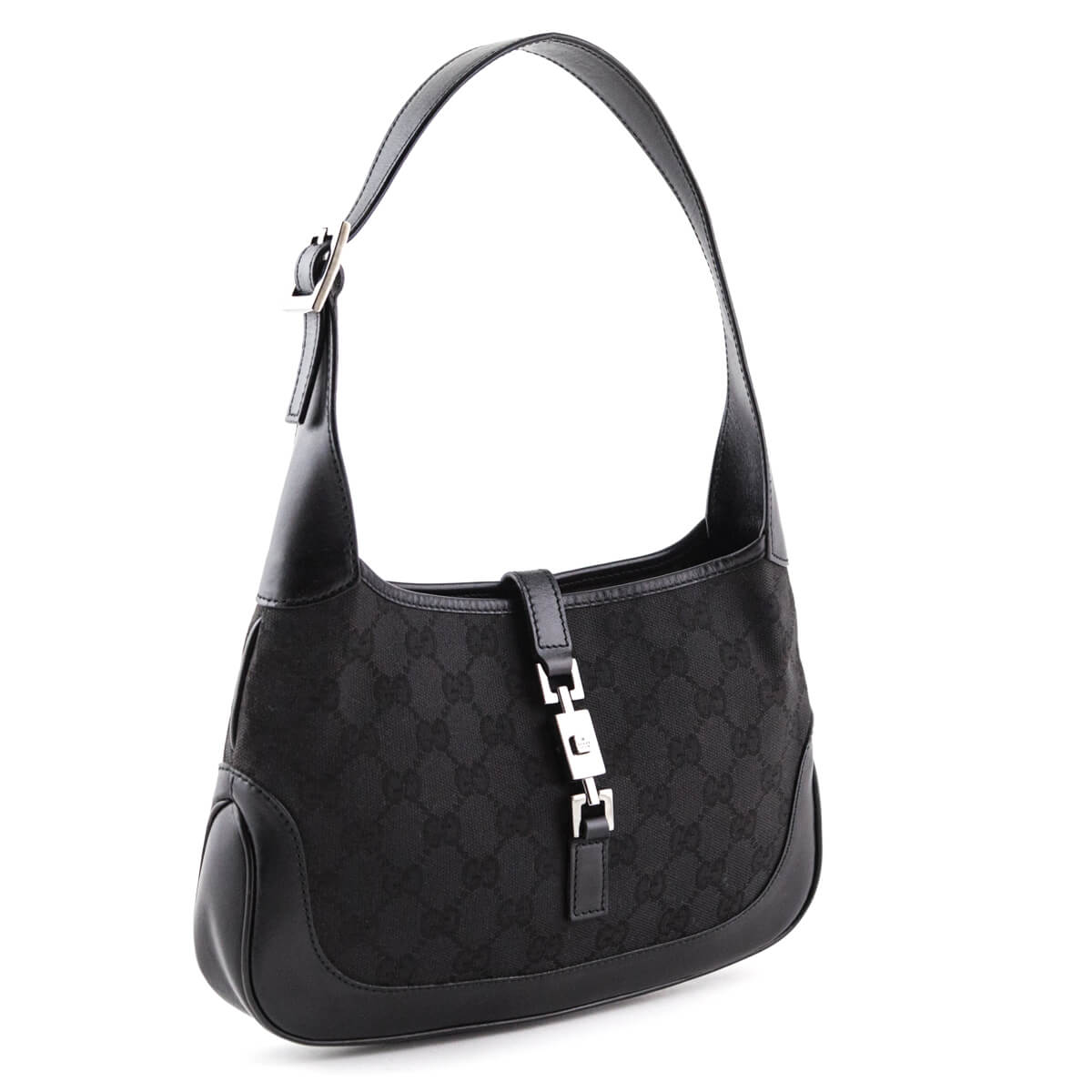 ... Gucci Black Monogram Canvas Small Jackie Hobo bag - LOVE that BAG -  Preowned Authentic Designer ... 8a5b82afec4fa