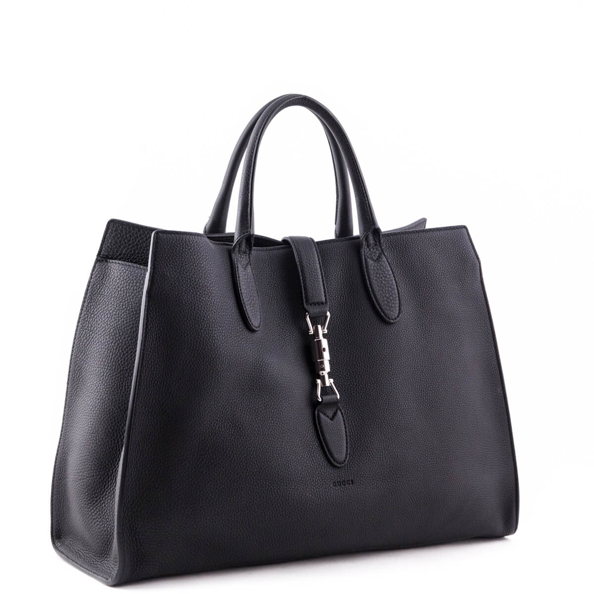 Discover on feet images of newest style of Gucci Black Soft Leather Large Jackie Top Handle Bag