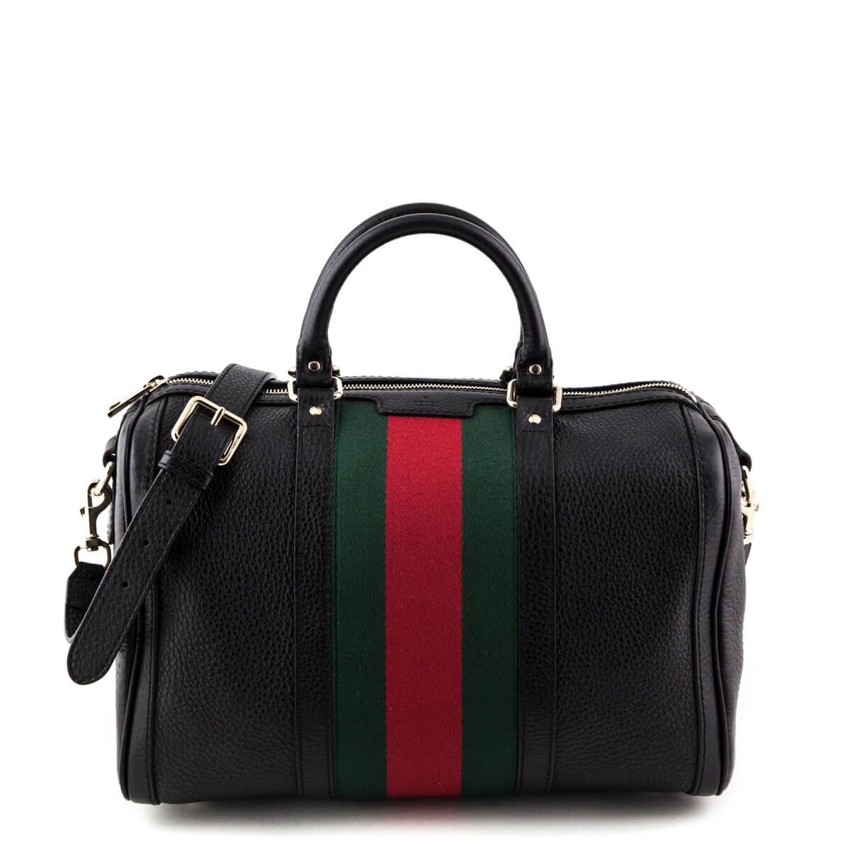 003b789ed277de Gucci Black Web Boston Bag - LOVE that BAG - Preowned Authentic Designer  Handbags ...