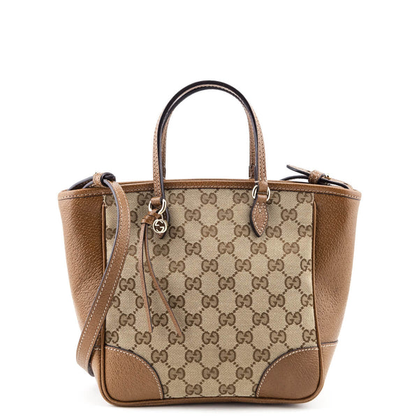 b20213960b Gucci Brown Leather & GG Canvas Small Bree Tote - LOVE that BAG - Preowned  Authentic