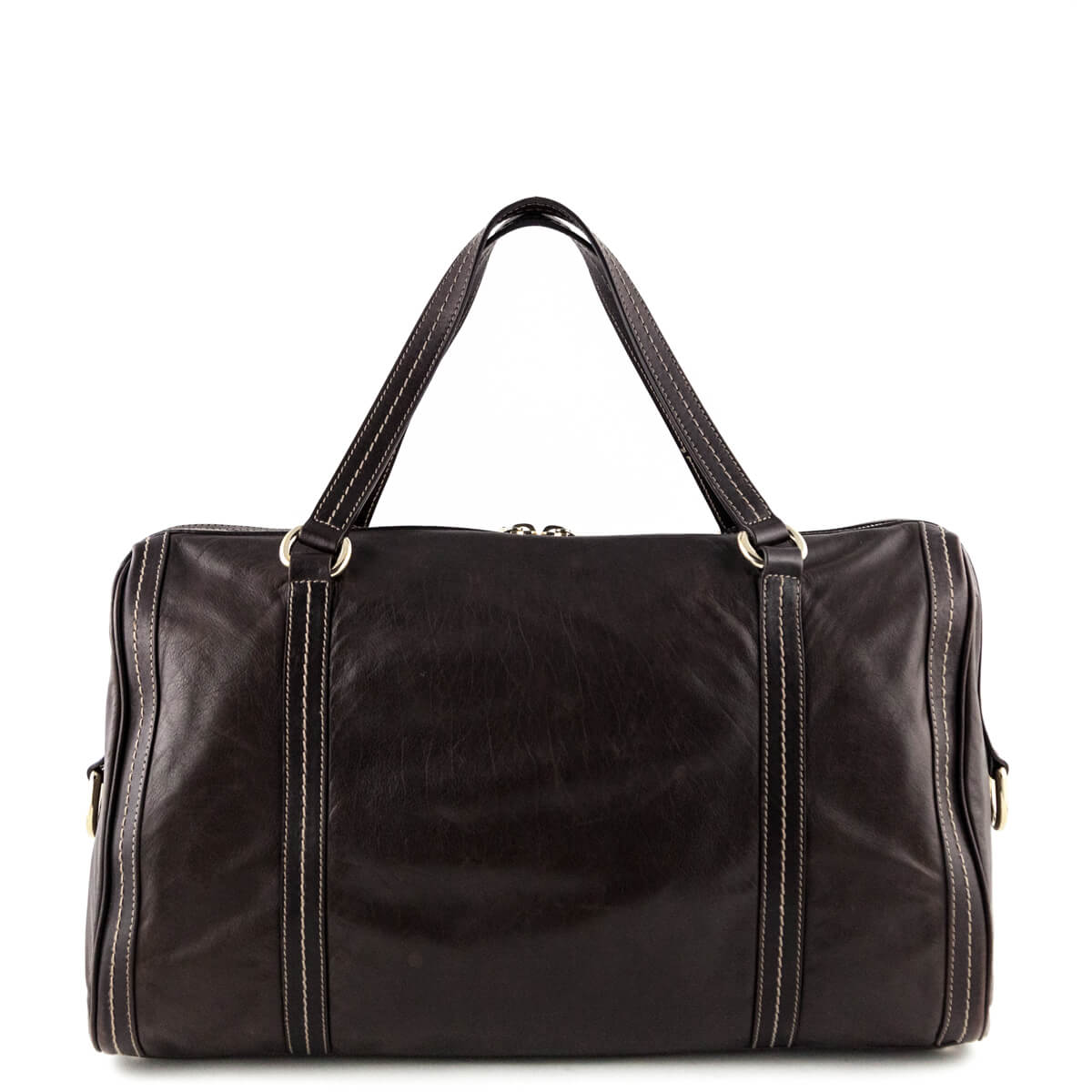 95a9ee35a84 ... Gucci Brown Leather Duffle Hysteria - LOVE that BAG - Preowned  Authentic Designer Handbags ...