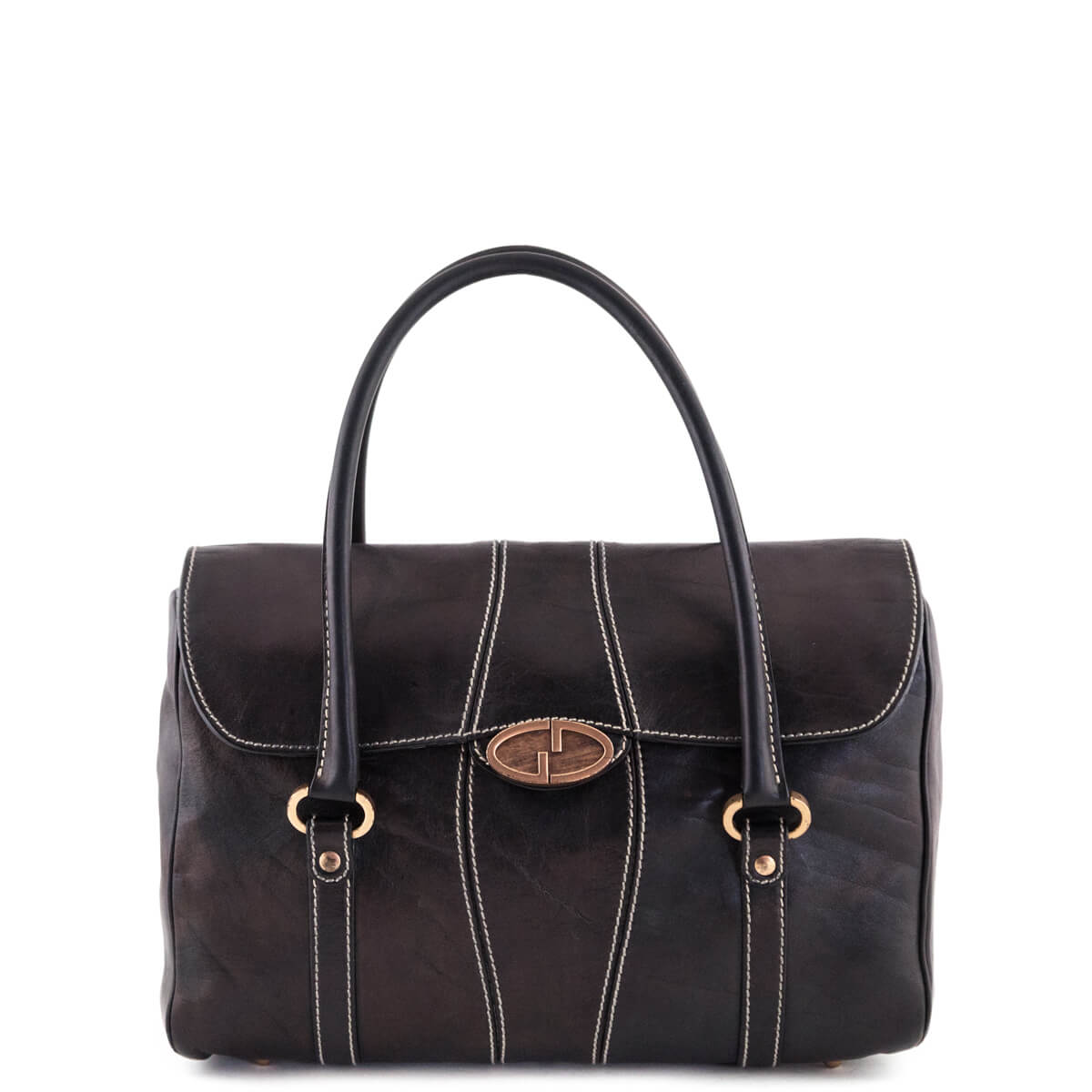 Gucci Brown Leather Flap Topstitch Handbag - LOVE that BAG - Preowned  Authentic Designer Handbags ... dab9b92af8