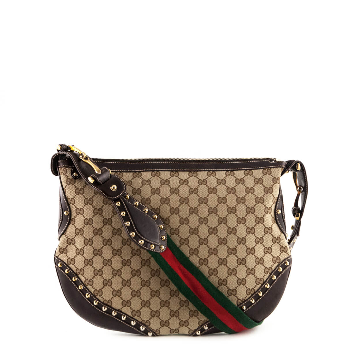 Gucci GG Canvas Pelham Studded Hobo Bag - LOVE that BAG - Preowned  Authentic Designer Handbags ... 5b789201b042b