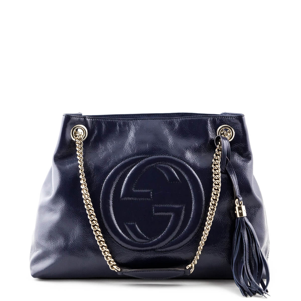 8194e1666fc Gucci Midnight Blue Patent Medium Soho Shoulder Bag - LOVE that BAG - Preowned  Authentic Designer ...