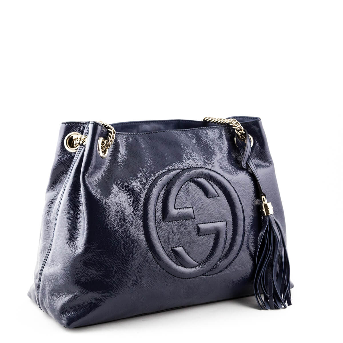 19fd98d5bbe ... Gucci Midnight Blue Patent Medium Soho Shoulder Bag - LOVE that BAG - Preowned  Authentic Designer ...