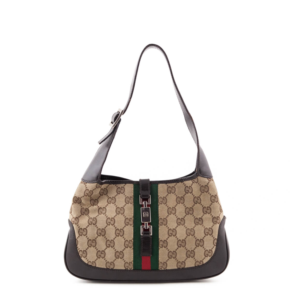 c877816a381bd9 Gucci Monogram Canvas Small Web Jackie Handbag - LOVE that BAG - Preowned  Authentic Designer Handbags ...