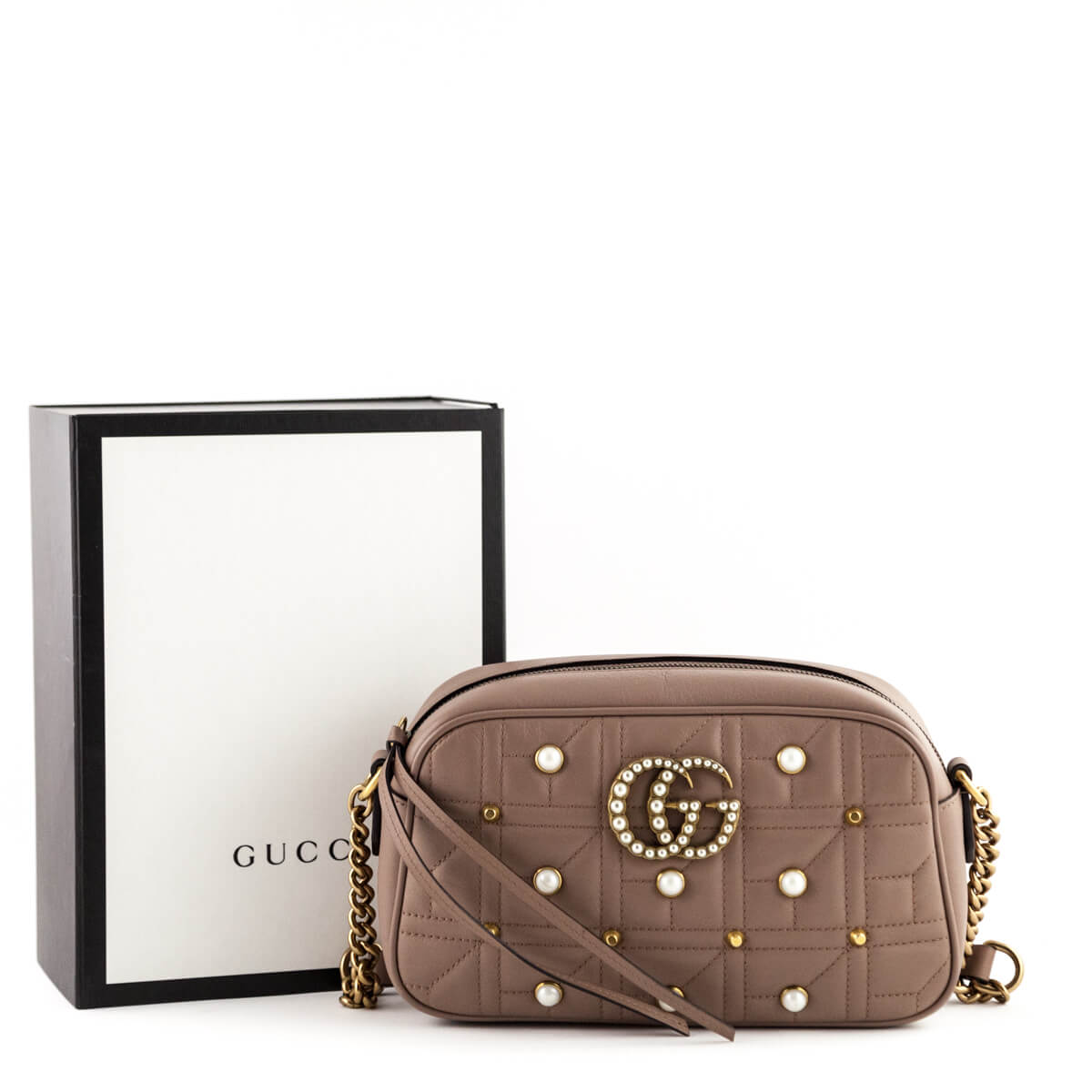 057fe9988c8 ... Gucci Nude Calfskin Matelasse Small Pearl Studded GG Marmont - LOVE  that BAG - Preowned Authentic ...