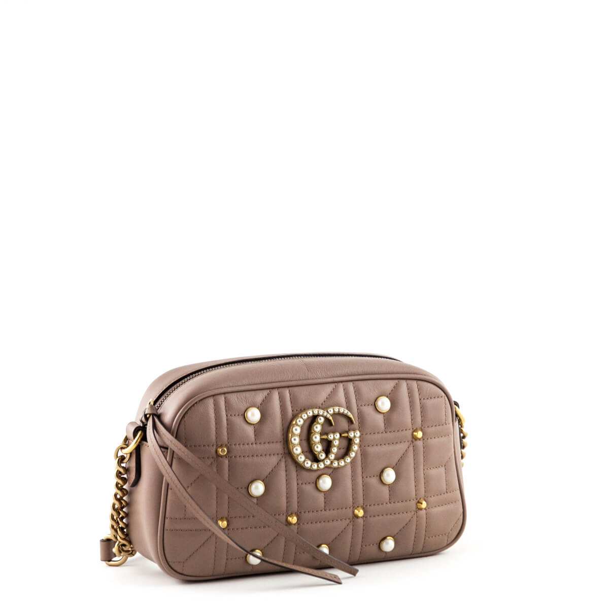7bc7917d6606a6 ... Gucci Nude Calfskin Matelasse Small Pearl Studded GG Marmont - LOVE  that BAG - Preowned Authentic ...