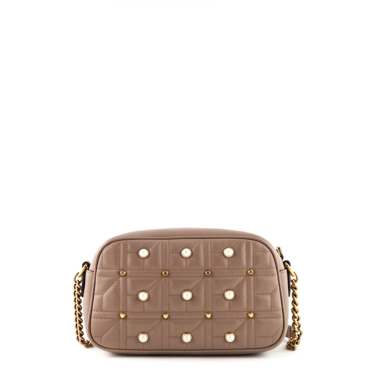 ... Gucci Nude Calfskin Matelasse Small Pearl Studded GG Marmont - LOVE  that BAG - Preowned Authentic ...