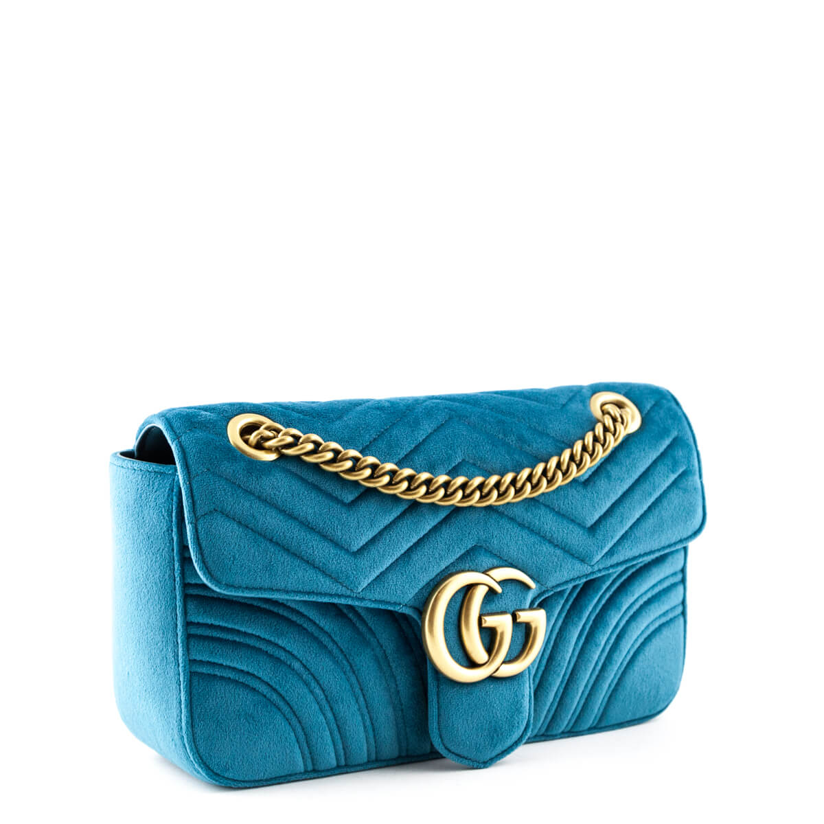 ef75761f3fc4 ... Gucci Petrol Blue Velvet Small GG Marmont Shoulder Bag - LOVE that BAG  - Preowned Authentic ...