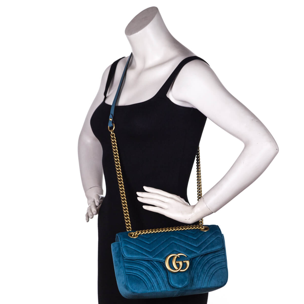 94e36ee4f51 ... Gucci Petrol Blue Velvet Small GG Marmont Shoulder Bag - LOVE that BAG  - Preowned Authentic ...