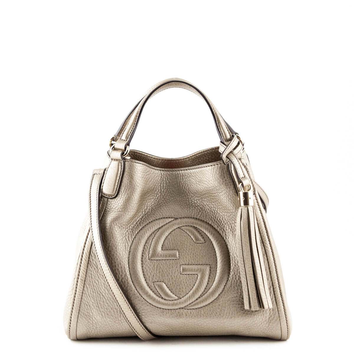 35600f80d3b Gucci Pewter Metallic Small Soho Tassel Tote - LOVE that BAG - Preowned  Authentic Designer Handbags ...