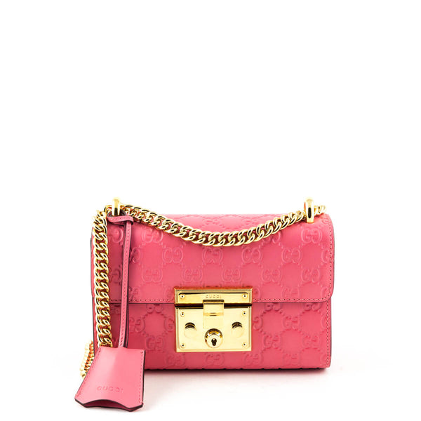 98b621ca5004 Gucci Pink Guccissima Small Padlock Shoulder Bag - LOVE that BAG - Preowned  Authentic Designer Handbags