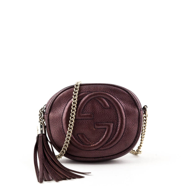 9a7579383da9 Gucci Purple Metallic Mini Soho Chain Bag - LOVE that BAG - Preowned  Authentic Designer Handbags