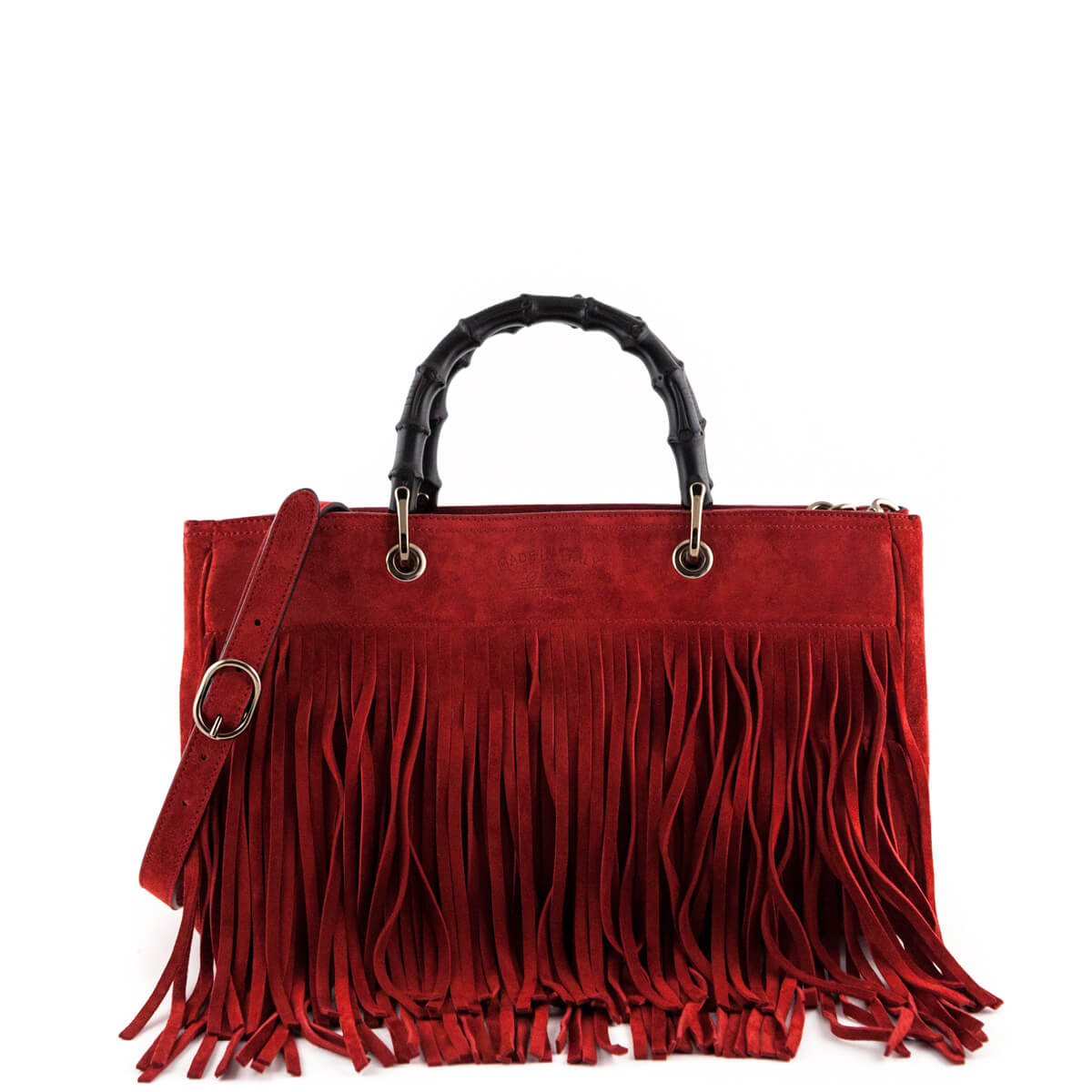 2bf6f38652fc Gucci Red Suede Bamboo Fringe Medium Shopper Tote - LOVE that BAG -  Preowned Authentic Designer ...