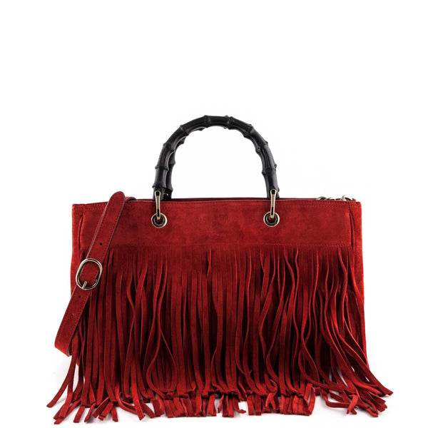 2e24cb703168 Gucci Red Suede Bamboo Fringe Medium Shopper Tote - LOVE that BAG -  Preowned Authentic Designer
