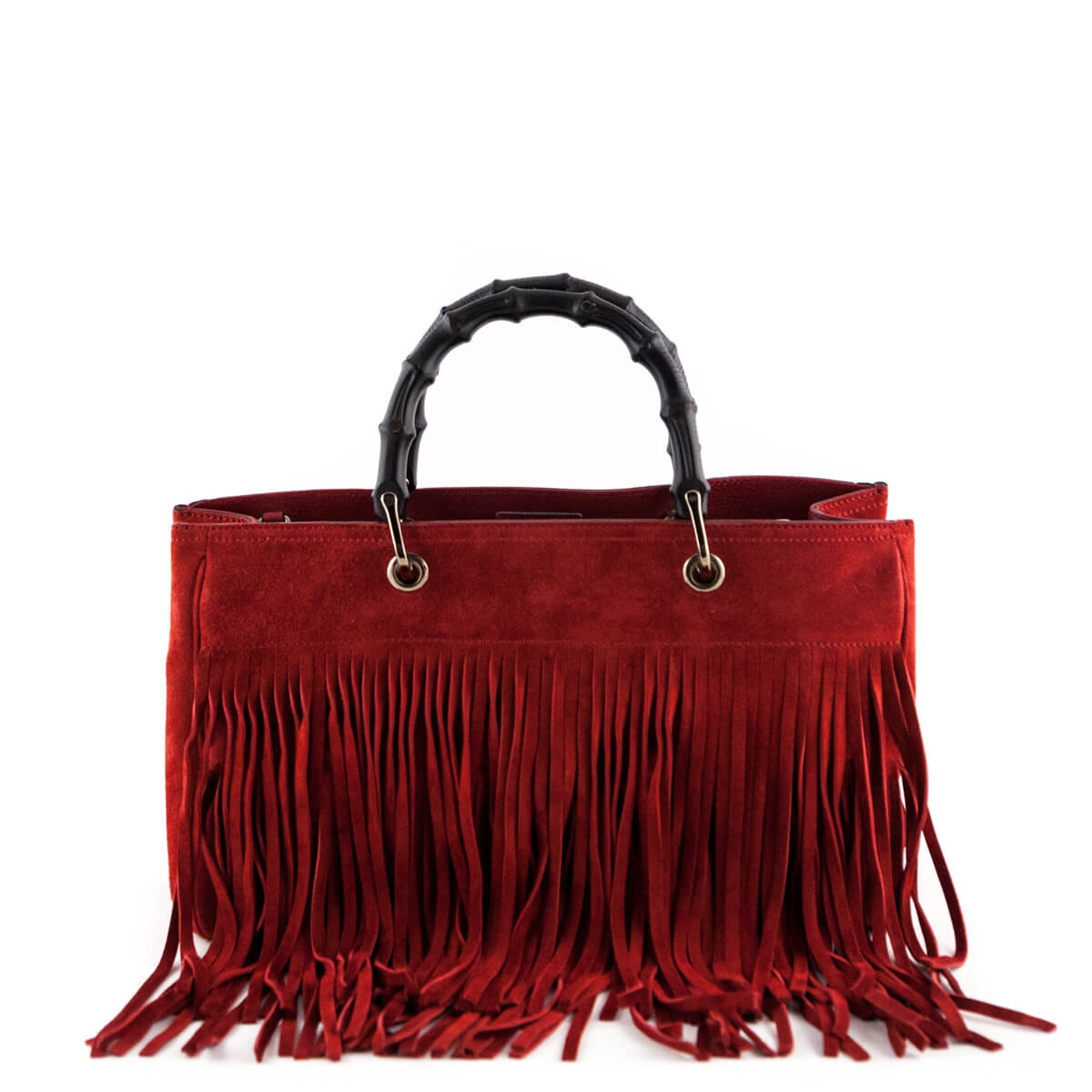 e263fecd89 Gucci Red Suede Bamboo Fringe Medium Shopper Tote