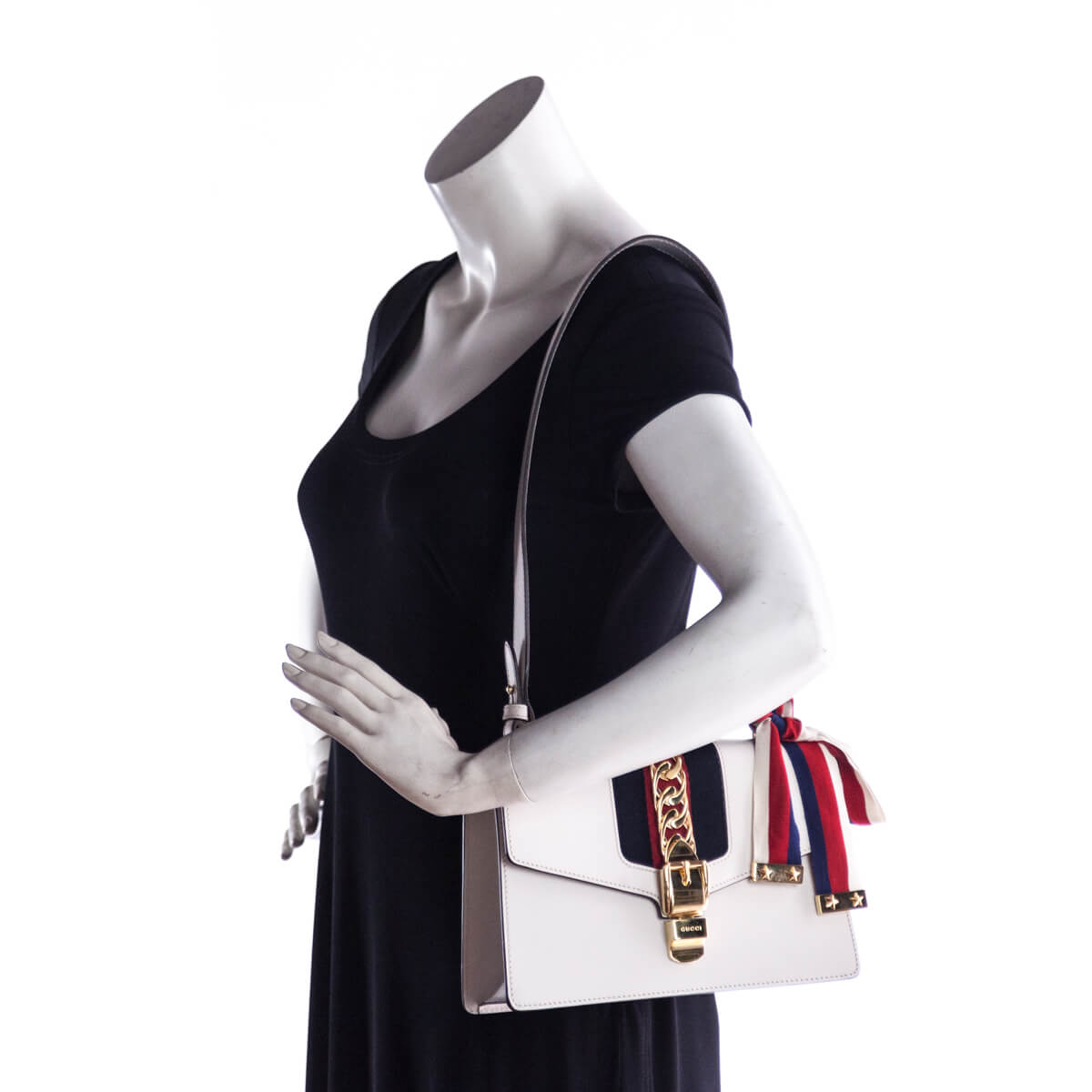 ... Gucci Small White Sylvie Shoulder Bag - LOVE that BAG - Preowned  Authentic Designer Handbags 02119cb63af90