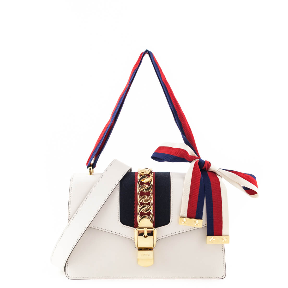 Gucci Small White Sylvie Shoulder Bag - LOVE that BAG - Preowned Authentic  Designer Handbags ... 08d90f8b7c151