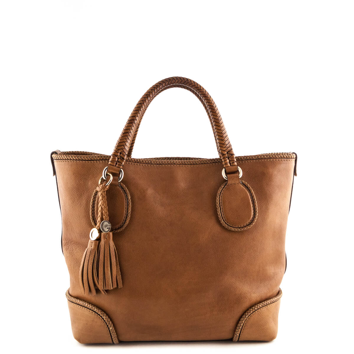64810f72778e Gucci Tan Leather Braided Tote - LOVE that BAG - Preowned Authentic  Designer Handbags ...