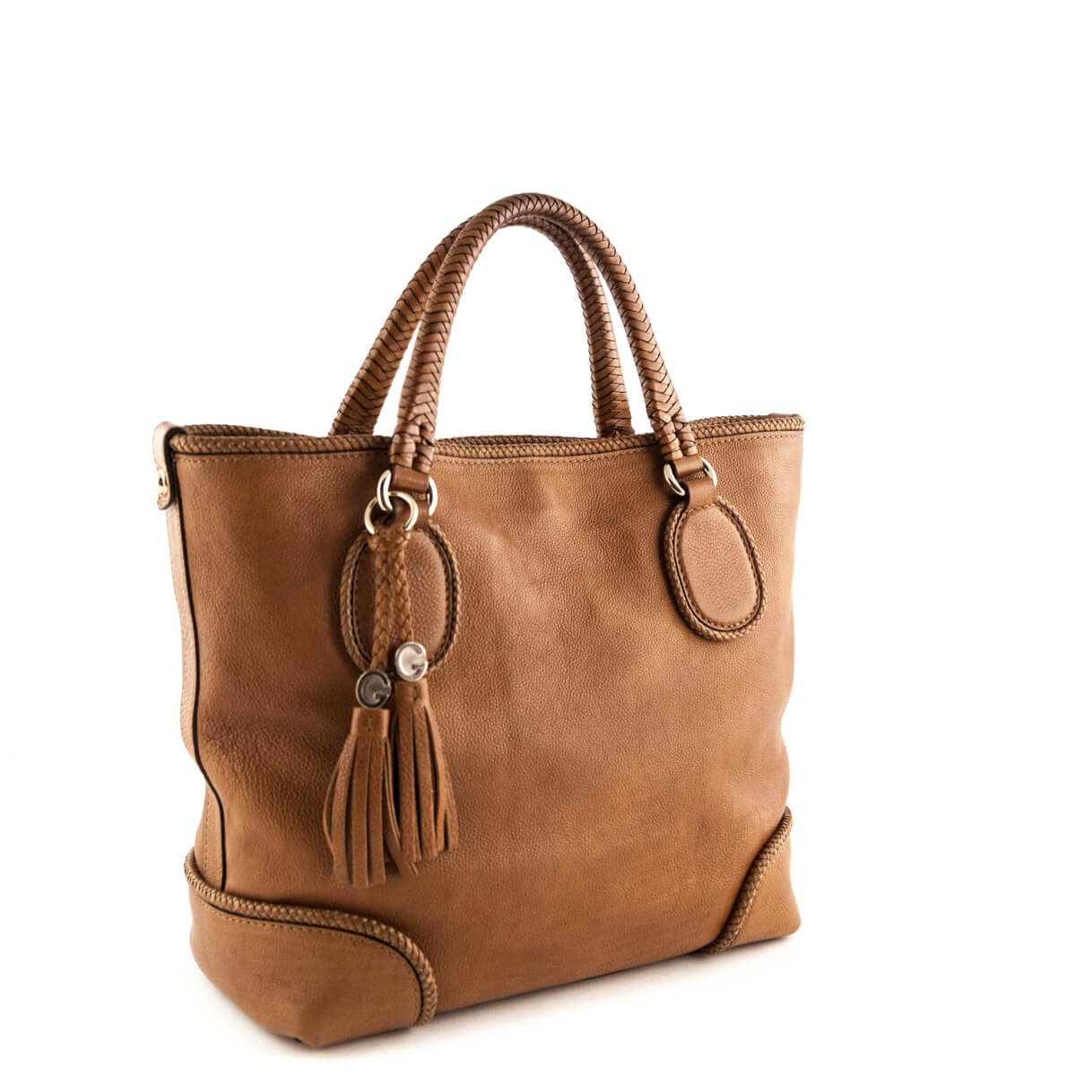 fe2dc0cd277 ... Gucci Tan Leather Braided Tote - LOVE that BAG - Preowned Authentic  Designer Handbags ...