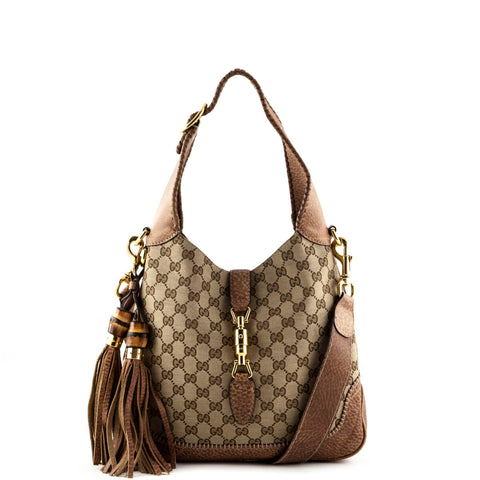 Gucci Tan Leather Monogram Canvas Large New Jackie Bamboo Tassel Hobo