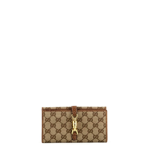 Gucci Tan Leather & Monogram Canvas New Jackie Wallet