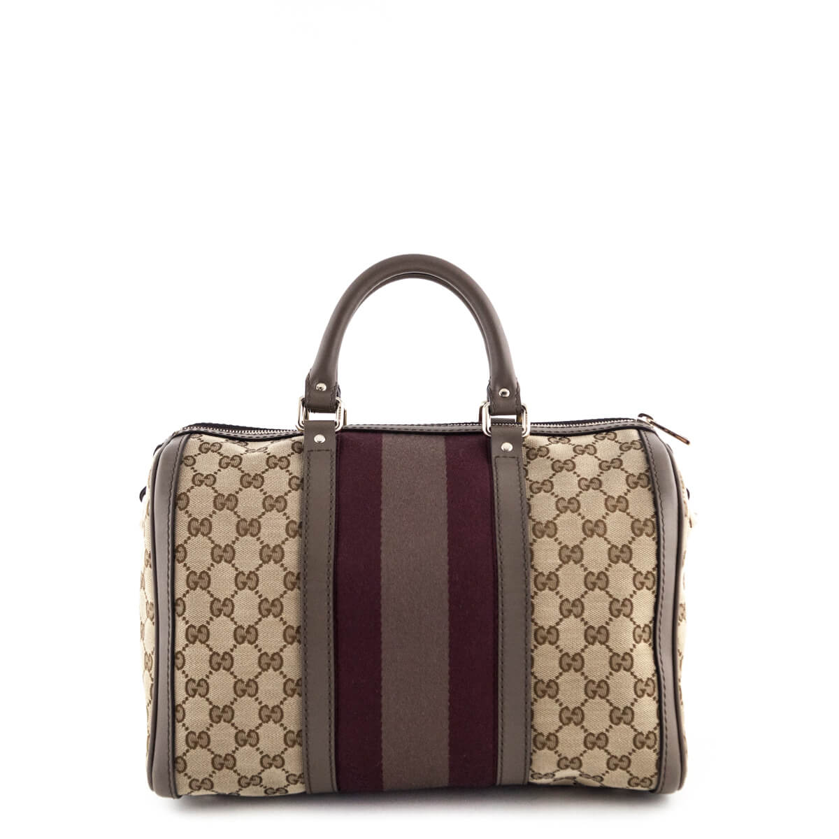 8d953dbc4 ... Gucci Taupe Stripe Monogram Medium Joy Boston Bag - LOVE that BAG -  Preowned Authentic Designer ...
