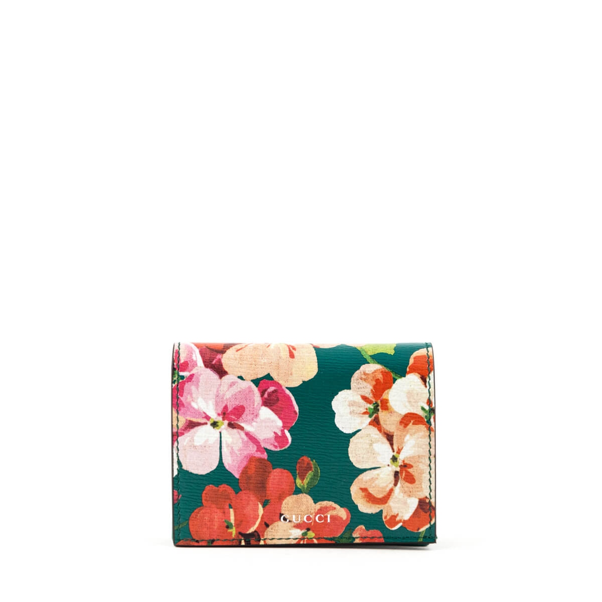 3a24b7d439a Gucci Teal Green Calfskin Shanghai Blooms Line Compact Wallet - LOVE that  BAG - Preowned Authentic ...