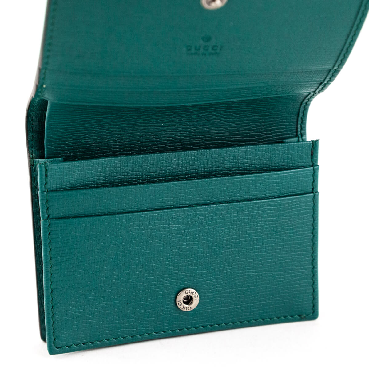 c4a603a0fee ... Gucci Teal Green Calfskin Shanghai Blooms Line Compact Wallet - LOVE  that BAG - Preowned Authentic ...