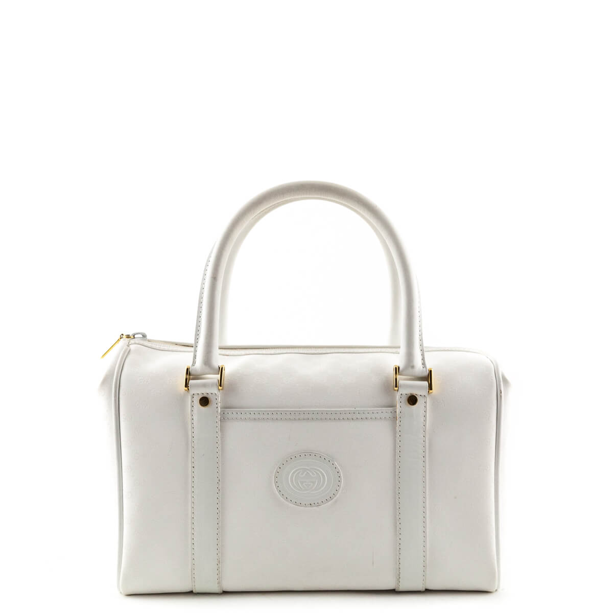 1580936a6c5 Gucci White Coated Canvas Vintage Boston Bag - LOVE that BAG - Preowned  Authentic Designer Handbags ...