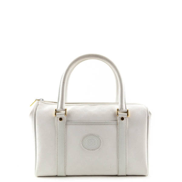 b1ae621cccb Gucci White Coated Canvas Vintage Boston Bag - LOVE that BAG - Preowned  Authentic Designer Handbags