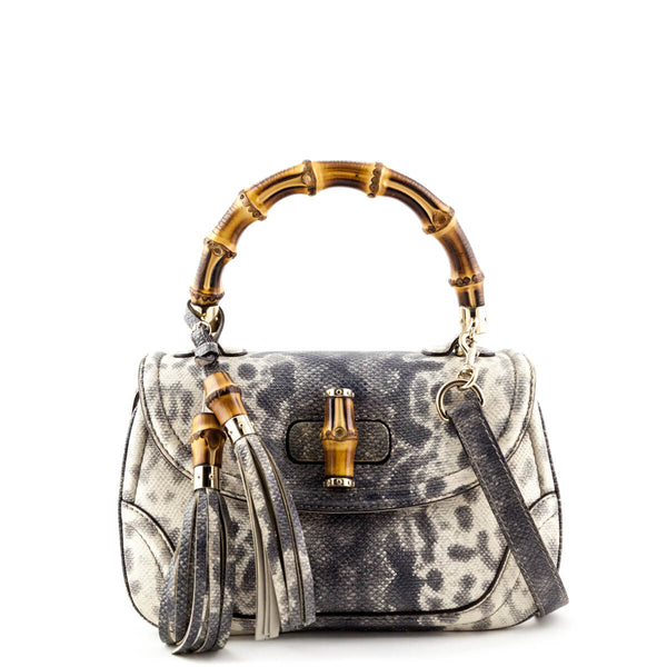 04ffdf2d127d Gucci White and Gray Reptile Print Medium New Bamboo Top Handle Bag - LOVE  that BAG