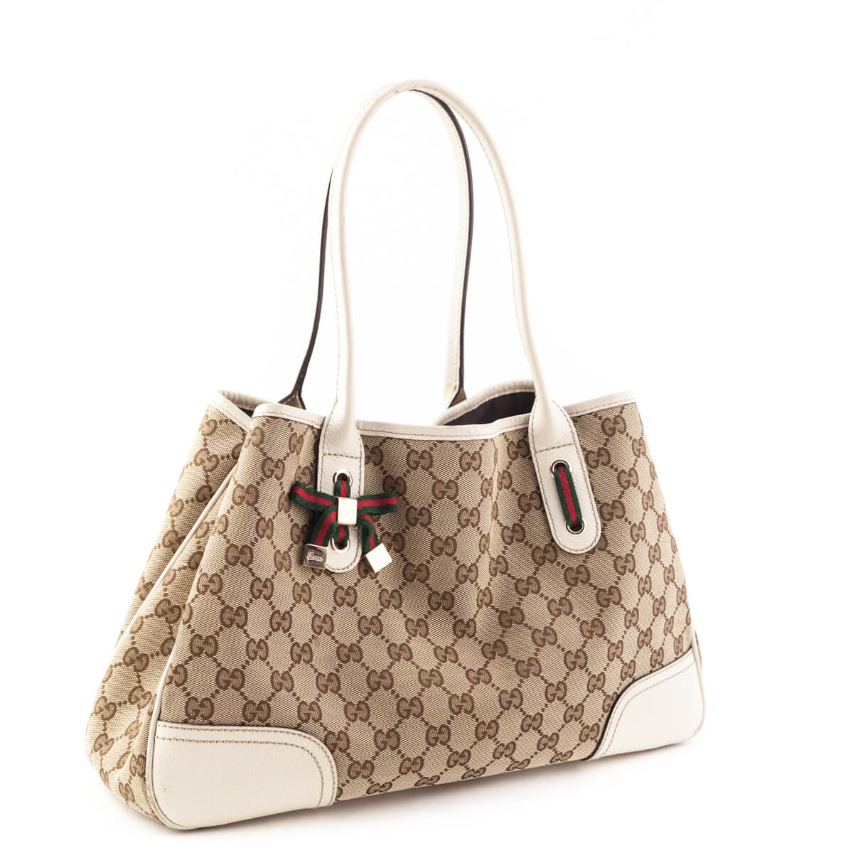 ea7ae968010 ... Gucci Cream Monogram Canvas Princy Tote - LOVE that BAG - Preowned  Authentic Designer Handbags ...