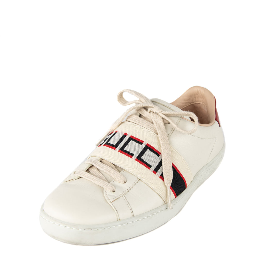 Gucci White Leather Ace Low Top Sneaker
