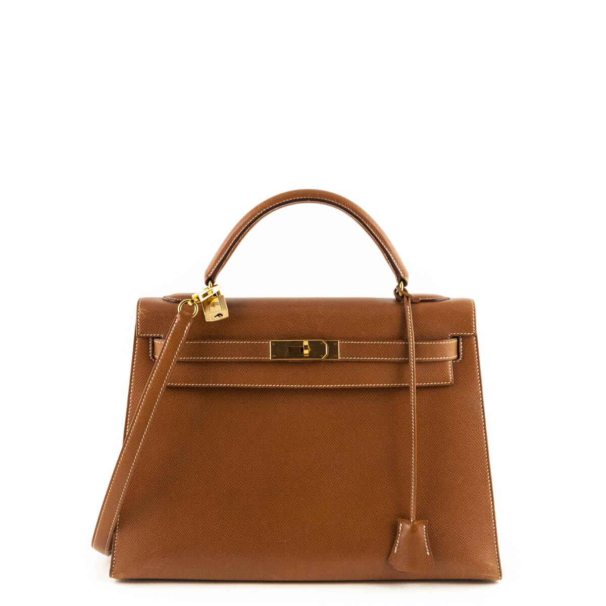 Hermes Gold Epsom Vintage Kelly Sellier 32 - LOVE that BAG - Preowned  Authentic Designer Handbags ... 5f7588ed25b38