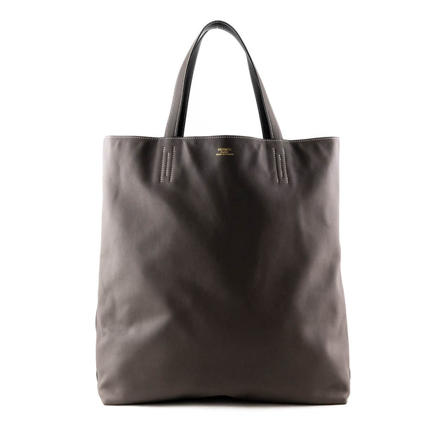 2dbced6b63 Hermes Noir   Etain Sikkim Calfskin Double Sens Maxi - LOVE that BAG -  Preowned Authentic