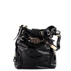 Jimmy Choo Black Crinkled Patent Leather Tote