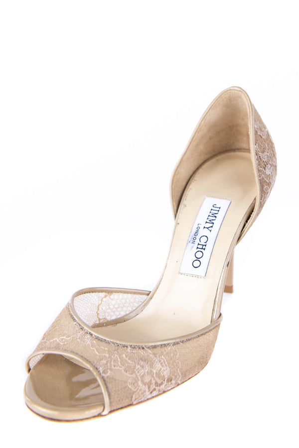 cheap for sale outlet store the best Jimmy Choo Beige Lace Peep Toe D'Orsay Pumps - Buy Preloved Jimmy Choo