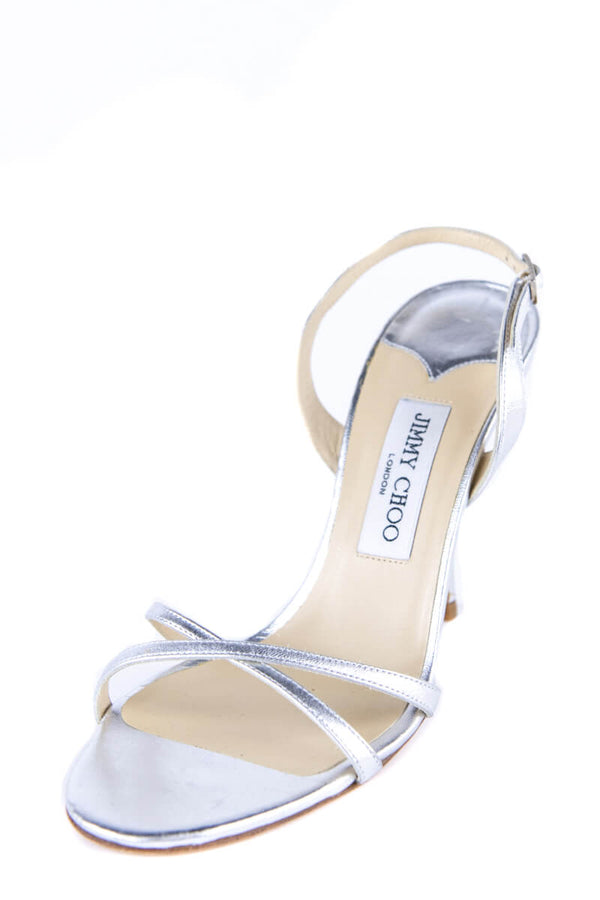 Jimmy Choo Silver Leather Strappy